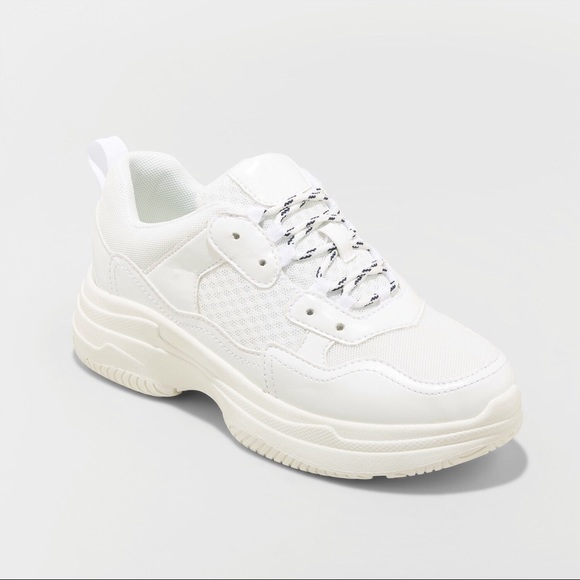 Chunky White 9s Dad Platform Sneakers